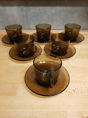 £18 • Buy 1970's Vintage French 'Vereco' Smoked Glass Coffee Cups & Saucers X 6