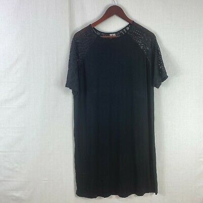 AU27.99 • Buy ASOS Size 18 Womens Black T-Shirt Dress Round Neck See Through Sleeves Casual