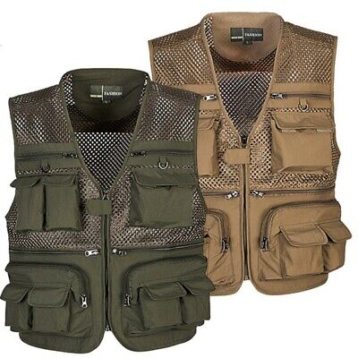 £15.99 • Buy Men Outdoor Multi Pocket Vest Travelers Fly Fishing Camping Quick-Dry Jacket New