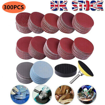 £10.79 • Buy 300Pcs 50mm Sanding Discs Pad Kit For Drill Grinder Rotary Tools +Backing Pad