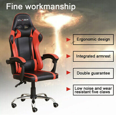 AU125.99 • Buy Gaming Chair Racing Office Seating Computer PU Leather Executive Racer Footrest