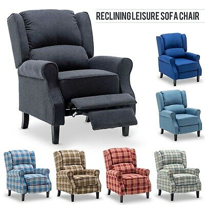 £159.99 • Buy Single Vintage Sofa Reclining Chair Padded Seat Fabric Upholstered Armchair