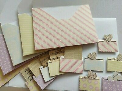 £2.50 • Buy Mini Patterned Paper Envelopes With Newspaper, Music Sheets And Hearts Empheria