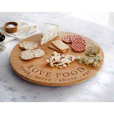 £14.50 • Buy Rotating Wooden Tray Round Lazy Susan Turntable Serving Solid Plate Pizza Board