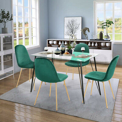 AU299.95 • Buy 5 Piece Dining Table And Chairs Set Tempered Glass Table Green Velvet Chairs