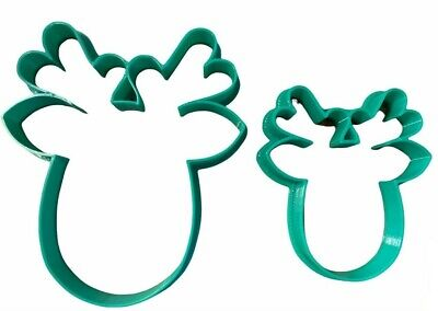£3.45 • Buy Set Of 2 X REINDEER CHRISTMAS Cookie Or Fondant Cutters Sugarcraft Icing Cake