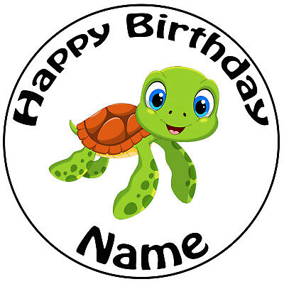 £5.49 • Buy Personalised Turtle Birthday Cake Topper Decoration 8  Round Icing Edible