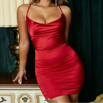 £30 • Buy Red Silk Cowl Dress - Oh Polly