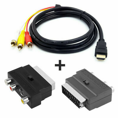 £6.99 • Buy 1080P HDMI S-video To 3 RCA AV Audio Cable W/2pcs SCART To 3 RCA Phono Adapter