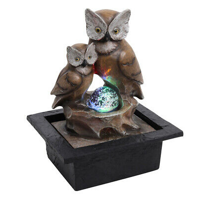 £21.95 • Buy Bubbles Ball Owls Indoor Water Fountain Garden Water Feature LED Lights Statue