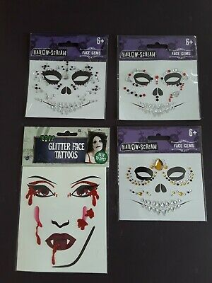 £2.95 • Buy Halloween Gold Red Purple Face Eye Gems Diamantes Or Red Glitter Bloody Tattoos