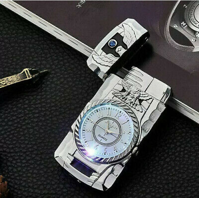£9.99 • Buy NEW WINDPROOF LIGHTER TURBO SINGLE JET GAS REFILLABLE CIGAR CIGARETTE SilveCLCOK