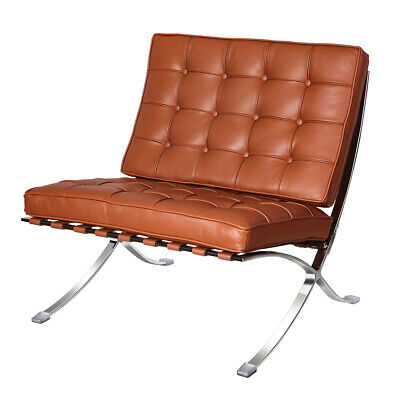 AU309.99 • Buy Fit Barcelona Style Lounge Chair Club Chair Real Leather Stainless Steel Frame