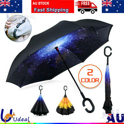 AU17.95 • Buy Windproof Upside Down Reverse Umbrella C-Handle Double Layer Inside-Out Inverted