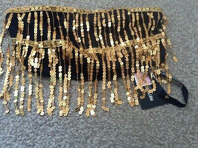 £16 • Buy Pretty Little Thing Gold Sequin Tassel Bandeau Crop Top Size 8