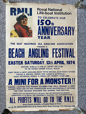 £15 • Buy 1974 RNLI Lifeboat Poster - Beach Angling (fishing) Festival, Hastings, Sussex