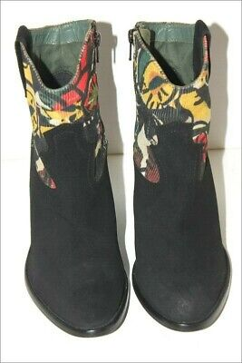 £69.28 • Buy Desigual Boots Booties Velvet Printed Colorful And Black T 37 Almost New