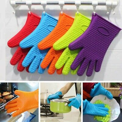 £3.77 • Buy BBQ Gloves Heat Resistant Silicone Kitchen BBQ, Grilling Mat Oven Cooking Mitts
