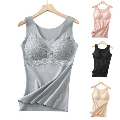 £10.99 • Buy Womens Cami Vest With Built In Bra Spaghetti Strap Tank Top Comfy Sport Tunic