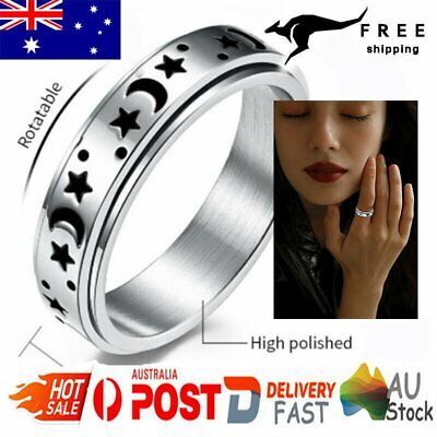 AU7.86 • Buy Spinner Rings Titanium Stainless Steel Moon Star Fidget Ring Stress Anxiety Ring