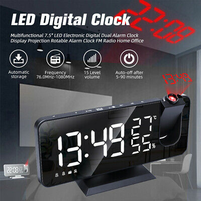 £21.99 • Buy 7.5  LED Digital Projection Alarm Clock FM Radio Snooze Dimmer Ceiling Projector