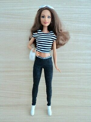 £10 • Buy Barbie Brunette Fashionistas Doll In Leggings, T-Shirt, Boots & Accessorries