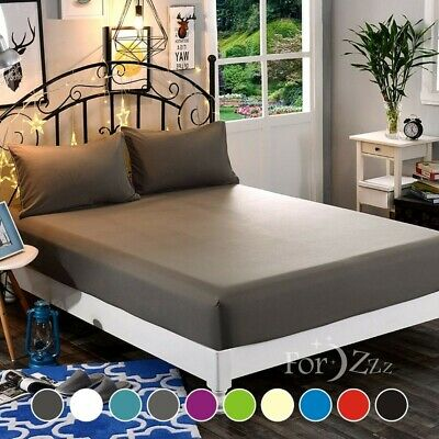 AU22.93 • Buy 1000TC 3PCS Bottom Fitted Sheet Set Super King Single Double Queen Bed (No Flat)