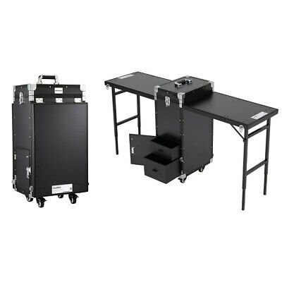 £339.95 • Buy Folding Nail Manicure Table Portable Makeup Train Case 2 Tabletops W/ Bluetooth
