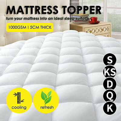 AU55.99 • Buy Bedding Single Double Queen King Bed Pillowtop Mattress Topper 1000GSM Protector