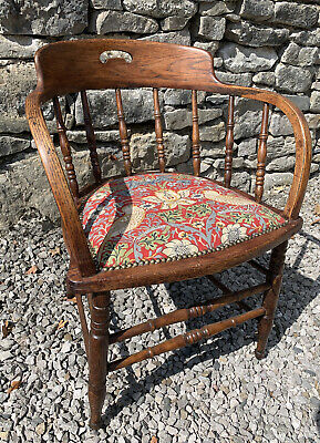 £110 • Buy Victorian Smokers Captains Chair Refurbished In William Morris Strawberry Thief