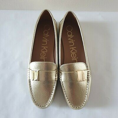 £35 • Buy Calvin Klein Women's Shoes Size 7 UK 40 EU Gold Flat Comfortable Loafers New