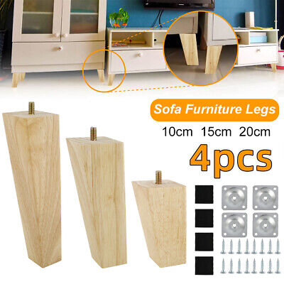AU29.65 • Buy 4 PCS Wooden Furniture Legs + Pads Turned Feet Lounge Couch Sofa Cabinet +Screw-