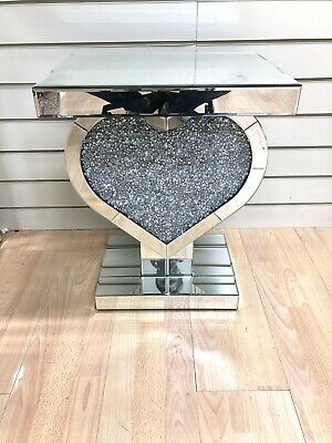 £194.99 • Buy Mirrored Heart Table Pedestal Crushed Diamond Crystal End Table Lamp Table