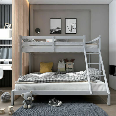 £165.95 • Buy Triple Bunk Beds Double Bed Grey Wooden Bed Frame 4FT6 Double & 3FT Single Kids