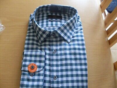 £13 • Buy M & S Mens Tailored Fit Cotton Twill Casual Shirt - Green Check - 18.5  - Bnwt.