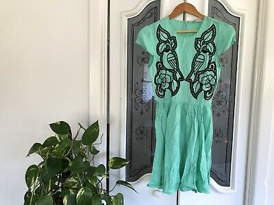 AU25 • Buy Alice McCall Ladies Dress Size 6 Mint Birds Cut Out Flowers Lined Top