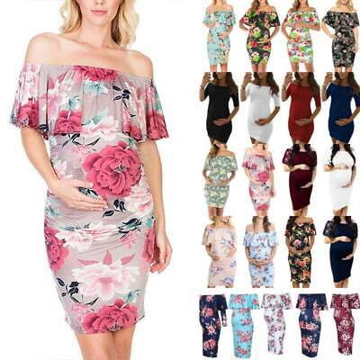 AU17.79 • Buy Maternity Lady Floral Off Shoulder Fit Bodycon Pregnant Midi Dress Casual Party