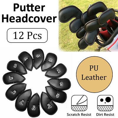 AU17.69 • Buy 12PCS Headcover Golf Club Iron Head Covers Set PU Leather Putter 3-SW Big Number