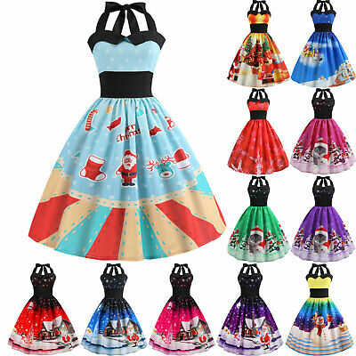 AU23.74 • Buy Lady Christmas Halter Neck Skater A-Line Swing Dress Party Xmas Party Dresses