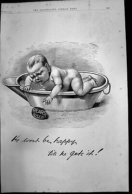 £20 • Buy Original Old Antique Print Advert For Pears Soap - Baby In Bath 1888 Victorian