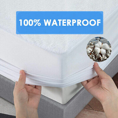 AU22.99 • Buy Fully Fitted Mattress Protector Waterproof All Size Terry Cotton Bed Soft Cover