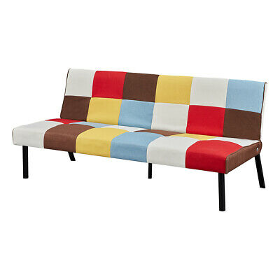 £122.99 • Buy 3 Seater Rainbow Patchwork Sofabed Linen Fabric Sofa Bed Reclining Sofa Chair