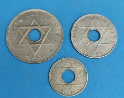 £6.50 • Buy 3x British West Africa Coins 1 Penny, 1Half Penny 1Tenth Of A Penny, Coins 1936.