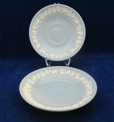 £18 • Buy 2 X Wedgwood Queens Ware Embossed Saucers White On Blue