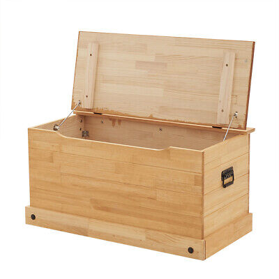 £66.99 • Buy Solid Pine Storage Ottoman Chest Toy Bedding Blanket Trunk  Bench Box Large