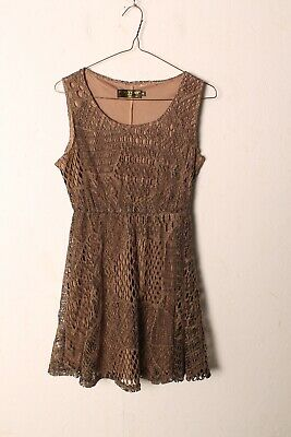 £3.99 • Buy Pussycat London Womens Lace Short Dress - Brown - Size Small S- (V-D6)