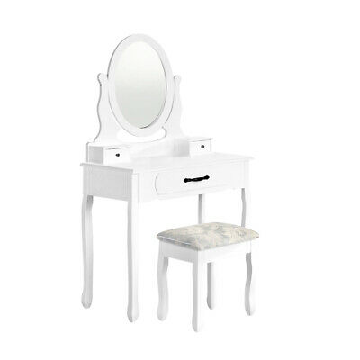 AU149.95 • Buy Artiss Dressing Table Stool Makeup Mirror Drawer White Jewellery Cabinet