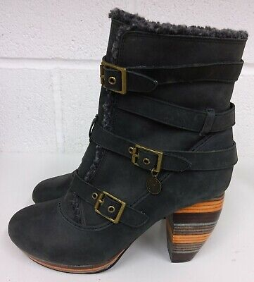 £15 • Buy Feud Charcoal Leather Quirky Striped Heels Ankle Boots - Size 6 Uk / 39 New