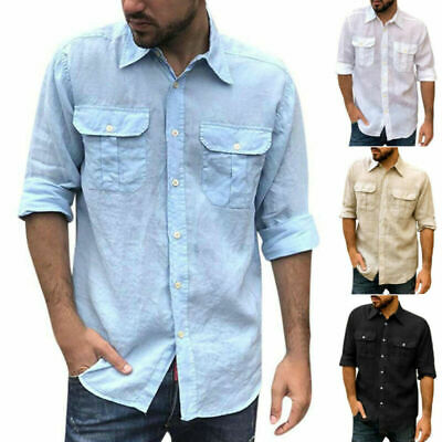 £15.89 • Buy Mens Solid Button Shirts Collar Casual Pocket Long Sleeve Tee Tops Blouse Tunic