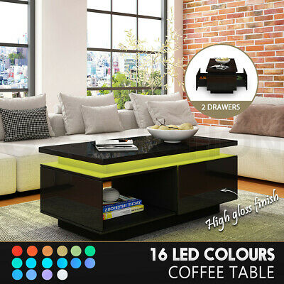 AU179.95 • Buy Coffee Table LED Lighted Storage Cabinet High Gloss 2 Drawers Furniture Black